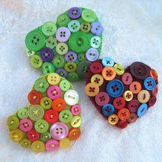 Heart brooch Wool blend felt and buttons by BeadedGardenUK