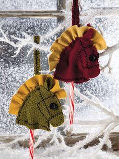 "ON SALE - NOW ONLY $1 FOR sewing pattern - limited time - Holiday Ponies ~ easy level ~ 4"" tall (not incl. hanging loop) ~ these are soo cute - add them to the tree, mantel or even a window - everyone will compliment you on these adorable ponies."