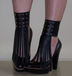 SPATS Black Leather Fringed Cuff Mini Spats with Studs - RECYCLED Shoe Accessories. $32.00, via Etsy.