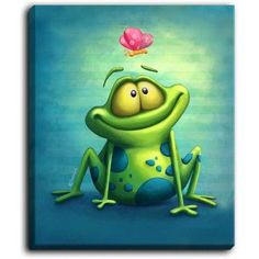 """DiaNocheDesigns 'The Frog II' by Tooshtoosh Painting Print on Wrapped Canvas Size: 40"""" H x 30"""" W x 1.5"""" D"""
