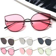 e43774de9 Mulheres da moda Olho de Gato óculos de Sol Do Desenhador Do Vintage  Espelhado Óculos Shades