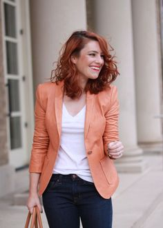 one of our bloggers, @Alicia Lund, looking fab in a gorgeous peach blazer