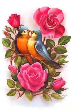 If the roses were yellow and the birds were cardinals, this would be perfect for my grandma