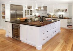 Built In Kitchen Island Wine Fridge, Transitional, kitchen, Papyrus Home Design