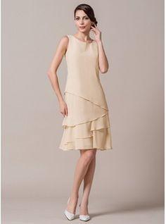 8c7a082ee336  € 152.00  A-Linie Princess-Linie U-Ausschnitt Knielang Chiffon Kleid für  die Brautmutter mit Gestufte Rüschen - JJ s House