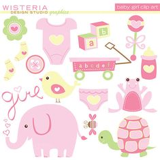 Baby Girl Elements - INSTANT DOWNLOAD - Clip Art for Personal & Commercial Use - Digital Designs via Etsy