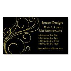 Elegant Black Gold Swirl Business Card Templates