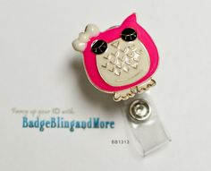 Adorable Pink Owl with Bow - Nurses/Professionals/Conventions-  Badge Holder Lanyard Clip BB1313