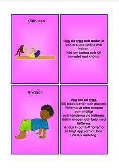 Barnyoga kort. Yoga For Kids, Exercise For Kids, Learn Swedish, Swedish Language, Brain Breaks, Yoga Meditation, Back To School, Massage, Education
