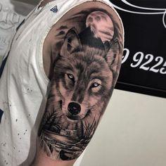 Wolf Tattoo Shoulder, Wolf Tattoo Forearm, Tribal Wolf Tattoo, Wolf Tattoos Men, Wolf Tattoo Design, Lion Tattoo, Animal Tattoos, Tattoos For Guys, Mens Tiger Tattoo