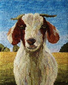 Fiber art hooked rugs for floor and wall made with hand-dyed, hand-cut wool strips. Member Piedmont Craftsmen and Carolina Designer Craftsmen. Rug Hooking Designs, Rug Hooking Patterns, Rug Patterns, Stitch Patterns, Knitting Patterns, Sheep Rug, Latch Hook Rugs, Rug Inspiration, Hand Hooked Rugs