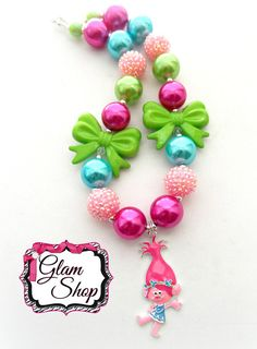Trolls Chunky Necklace  Chunky Bubblegum Necklace by GlamShopBeads