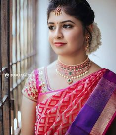 Tired of scrolling through a bunch of pages to find that perfect blouse designs? Check out the top most South Indian blouse designs to pair with a kanjeevaram saree- Eventila South Indian Blouse Designs, Silk Saree Blouse Designs, Saree Poses, Saree Photoshoot, South Indian Bride, Saree Styles, Indian Beauty Saree, Colorful Fashion, Elegant Makeup