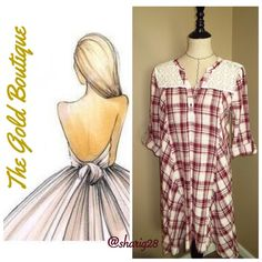 """Asymmetrical Red Plaid Dress❤️ This will be your new go to dress. Comfy & stylish with its Asymmetrical Trapeze Plaid Embellished Lace Yoke and Gingham pattern, sleeves can be worn rolled up or down.  Features: *crochet lace yoke detailing *henley style bodice (partial 3 button front) *soft breathable material  *slight v-neckline  *relaxed, flowing fit *asymmetrical trapeze hem *red & oatmeal coloring blended into a beautiful plaid stripe design *Cotton S, M Small Bust 34"""" Length 35"""" Med…"""