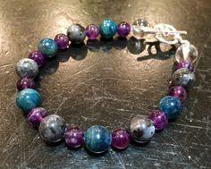 Weight loss - Blue Apatite, Amethyst, Larvikite, & Quartz Bracelet - Healing Crystal Bracelet - New Moon Beginnings - 1