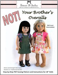 NOT! Your Brother's Overalls 18 inches Doll Clothes PDF Pattern Download | Pixie Faire