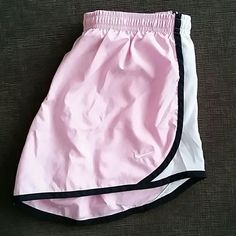Nike Dri Fit Shorts Nike Dri Fit shorts in light pink with white/black side stripe accent. Built in liner. Body and liner polyester. Kids size L, fits like Ladies S. Nike Shorts s Nike Dri Fit Shorts, Sport Shorts, Running Shorts, Workout Shorts, Gym Shorts Womens, Pink Outfits, Sport Outfits, Casual Outfits, Cute Outfits
