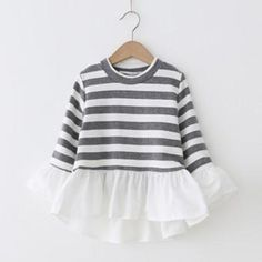Pretty Striped Pleated Dress for Baby and Toddler Girl