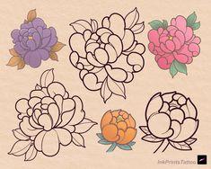 Traditional Tattoo Stencils, Traditional Tattoo Drawings, Traditional Tattoo Flowers, Traditional Japanese Tattoo Flash, Neo Traditional Art, Drawing Tattoos, Flower Tattoo Drawings, Tattoo Design Drawings, Flower Tattoo Designs