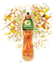 Gatorade Evoluciona: The Mexican Bottle (by tsevis) Mosaic illustration for GATORADE EVOLUCIONA campaign in Latin America. More about the Gatorade Evoluciona campaign. Based on my studies on the. Pattern Illustration, Digital Illustration, Office Wall Graphics, Print Design, Graphic Design, Typography Layout, Building For Kids, Print Ads, Brochure Design