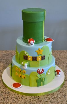 What a sweet Mario birthday cake!