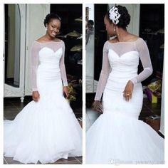 Long Sleeve Mermaid Wedding Dresses 2015 Sexy Bateau Ruffles Sweep Train Plus Size Organza Formal Bridal Gowns