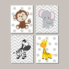 JUNGLE Nursery Wall Art ELEPHANT Giraffe von LovelyFaceDesigns