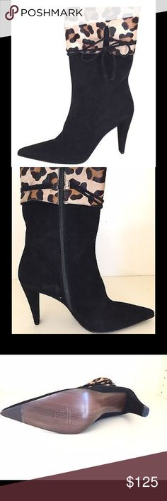 Stuart Weitzman mid calf suede boots New Box 39.5 Stuart Weitzman mid calf suede boots New with Box Size 39.5. Black with Leopard type pattern Stuart Weitzman Shoes Ankle Boots & Booties