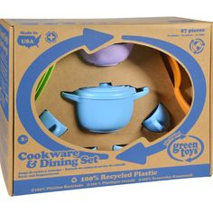 Green Toys Cookware and Dinnerware Set - 27 Piece Set - Young chefs can concoct and serve make-believe culinary treats that have real benefits for the earth with the world's greenest cookware and dining set. Like all Green Toys products, our Cookware and Dining Set helps to reduce fossil fuel use and CO2 emissions, all in the name of Good Green Fun! Meets FDA specs for food contact. Dishwasher safe. Here's an even greater incentive to make your kids drink their milk. Green Toys uses recycled…