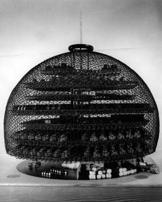 Geodesic textile mill model, circa 1952. North Carolina State University. College of Design. Student project.  Most of these students worked at Geodesics, Inc