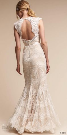 bhldn spring 2017 bridal cap sleeves illusion jewel sweetheart neckline full embellishment elegant sheath wedding dress keyhole back sweep train (suri) bv -- BHLDN's Neo-Bohemian Wedding Dresses #weddingdress #lace