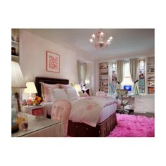 .@adorerooms bedroom style home decor pink rug love the bed vanity nightstand desk bookcase  chandelier