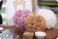 How to Make Party Poms | Lilyshop Blog by Jessie Jane We could make some for above the head table and even put some soft lights in them!