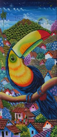 Title:Toucan Multi Colored Beak. Artist:Agustin C.. Price:U$100. Save 25% in shipping to more than 220 countries.. Technique:Oil on Canvas. Year:2012. Place:Masaya.