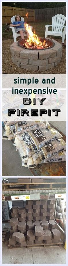 Tutorial to make this simple and inexpensive DIY Backyard Fire Pit. Great weekend project--lots of fun on chilly fall nights!