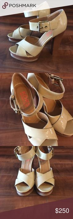 Micheal Kors chunky heel sandals Tan size 7 1/2  worn once Michael Kors Shoes Sandals