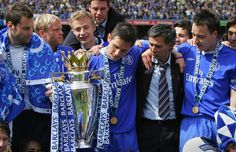 7 May 2005 / Chelsea 1-0 Charlton: Trophy boys - FRANK LAMPARD and co. receive the Premiership trophy at Stamford Bridge...