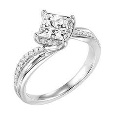 Twisted White Gold Kite Set Princess Diamond Engagement Ring @ Wedding Day Diamonds