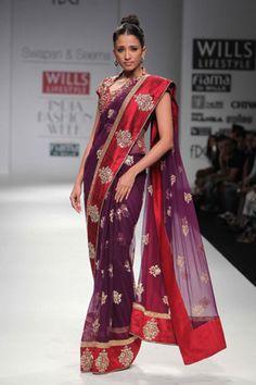 Red & Purple Saree By Swapan and Seema