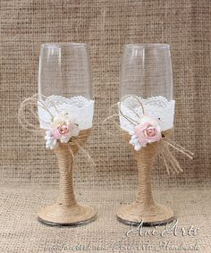 OOAK Cottage Chic Wedding Glasses Rustic Mr and Mrs by AniArts