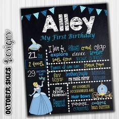 Cinderella Birthday Chalkboard Poster by OctoberSkiesDesigns