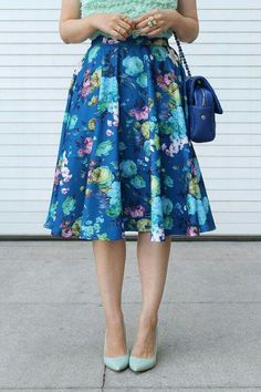 8c3efcf4c9dd Cobalt blue and mint green  Floral midi skirt with ruffle top