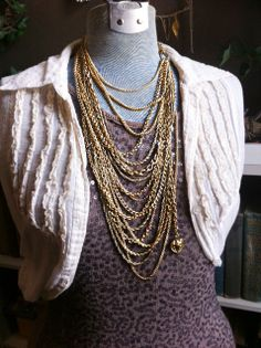 Upcycled 21 Chain Statement Necklace Gold by WeatheredCouture, $65.00