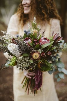 Rounding up Amazing Australian Native Wedding Bouquets with proteas, waratahs, wattle, flannel flower and so many more for weddings. - Page 2 Bridal Flowers, Flower Bouquet Wedding, Floral Wedding, Flower Bouquets, Purple Wedding, Purple Bouquets, Australian Wildflowers, Australian Native Flowers, Australian Bush