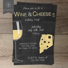 Wine and Cheese Invitations / Chalkboard by greylein
