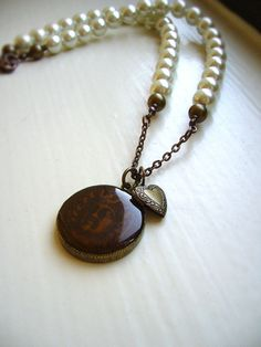 Cream pearl antique necklace, one of a kind pendant by JLPromiseJewellery, $40.00