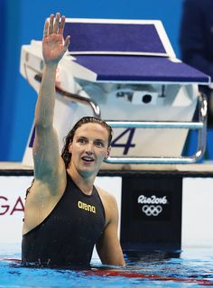 #RIO2016 - Best of Day 1 - Katinka Hosszu of Hungary celebrates winning the final of the Women's 400m IM on Day 1 of the Rio 2016 Olympic Games at the Olympic Aquatics Stadium...