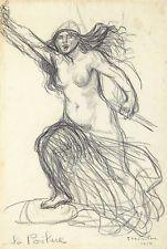 Original Vintage Drawing Theophile Alexandre Steinlen Art Nouveau WWI World War