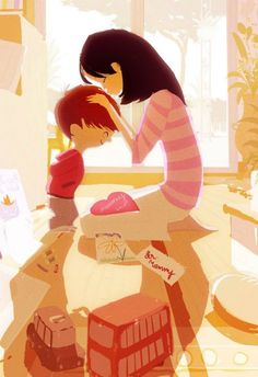 Pascal Campion is a French-American illustrator and animator who created the lovely illustrations of Happy family. Pascal studied narrative illustration at Arts Decoratifs de Strasbourg in France and currently works in San Francisco. Art And Illustration, Art Illustrations, Pascal Campion, Story Starter, Foto Baby, Mothers Love, Caricatures, Oeuvre D'art, Illustrators