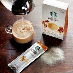 Enjoy instant caramel lattes made from Starbucks 100% <i>arabica</i> coffee—just add hot water.